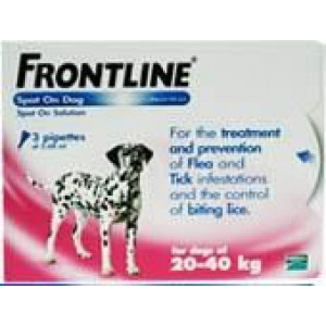 Image for Frontline Spot On 20-40K Dog 2.68ml 3S Pink Large Dog