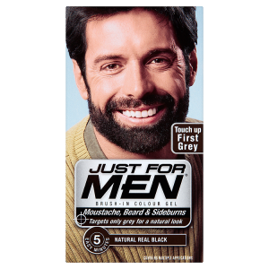 Image for Just For Men Brush-In Colour Gel Moustache, Beard & Sideburns Natural Real Black M-55