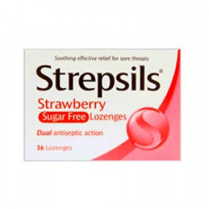 Image for Strepsils Lozenges Sugar Free Strawberry - 36