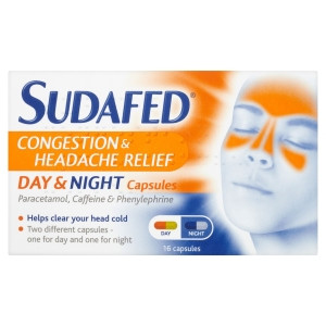 Image for Sudafed Congestion and Headache Relief Day and Night Capsules - 16 Capsules