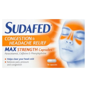 Image for Sudafed Congestion and Headache Relief Max Strength Capsules - 16 Capsules