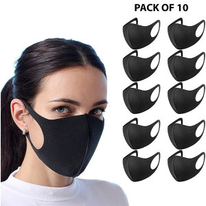 10 x Black Washable Face Covering Mask