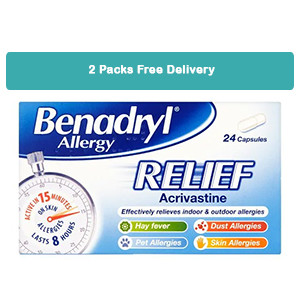Image for 2 Packs of Benadryl Allergy Relief 24 Capsules - FREE DELIVERY