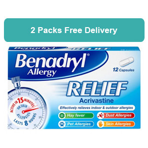 2 Packs of Benadryl Allergy Relief 12 Capsules - FREE DELIVERY