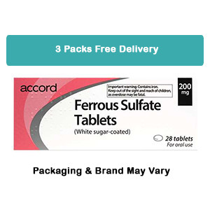Image for 3 Packs of Ferrous Sulphate 200mg 28 Tablets - FREE DELIVERY