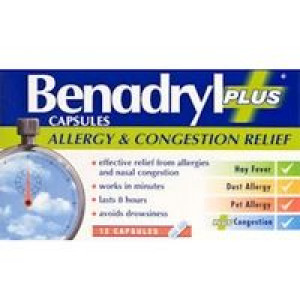 Image for Benadryl Plus Allergy & Congestion Relief Capsules 12 Capsules