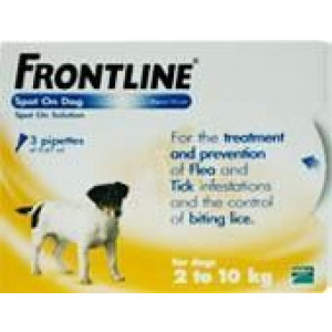 Image for Frontline Spot On 2-10K Dog 0.67ml 3S Yellow Small Dog