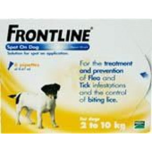 Image for Frontline Spot On 2-10K Dog 0.67ml 6S Yellow Small Dog