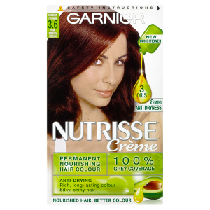 Image for Garnier Nutrisse Creme Permanent Nourishing Hair Colour 3.6 Crimson Promise Deep Reddish Brown