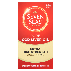 Image for Seven Seas Pure Cod Liver Oil Extra High Strength 60 One-a-Day Capsules