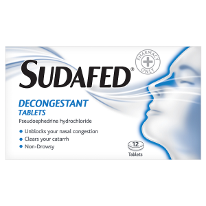 Image for Sudafed Decongestant Tablets 12 Tablets