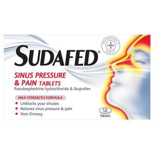 Image for Sudafed Sinus Pressure & Pain Tablets 12 Tablets