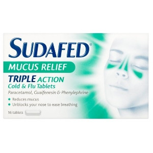 Image for Sudafed Mucus Relief Triple Action Cold & Flu Tablets 16 Tablets