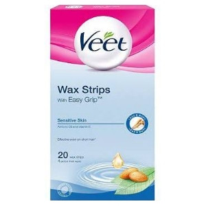Image for Veet Wax Strips For Legs and Body Sensitive Skin Easy Grip 20 Pack