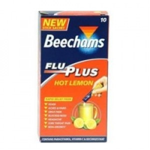 Image for Beechams Flu Plus Hot Lemon 10 Sachets