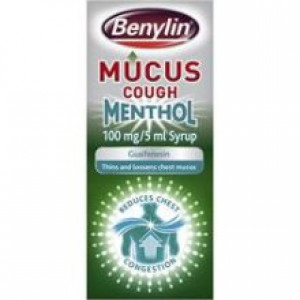 Image for Benylin Mucus Cough Menthol 100mg/5ml Syrup 150ml