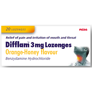 Image for Difflam 3mg Lozenges Orange & Honey Flavour 20 Lozenges
