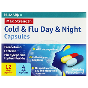 Image for Numark Max Strength Day & Night Cold & Flu 16 Capsules (Lemsip Alternative)