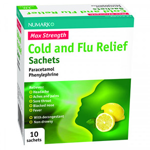 Image for Numark Max Strength Cold & Flu Relief Lemon 10 Sachets (Lemsip alternative)
