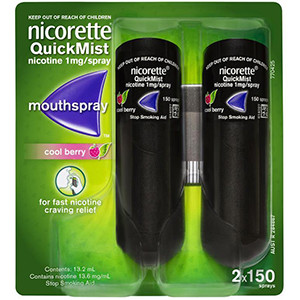 Nicorette Quickmist 1mg Spray Cool Berry Duo Double pack