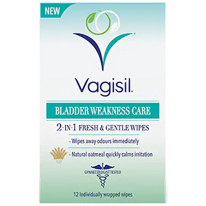 Image for Vagisil Bladder Weakness Care 2-in-1 Fresh & Gentle 12 Wipes