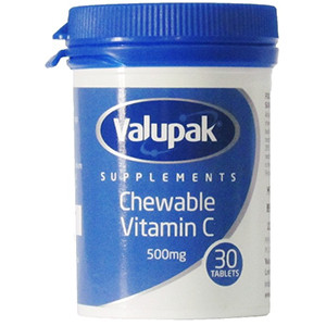 Image for Valupak Chewable Vitamin C 500mg 30 Tablets