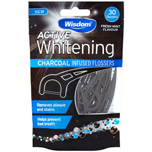 Image for Wisdom Active Whitening Charcoal 30 Flossers