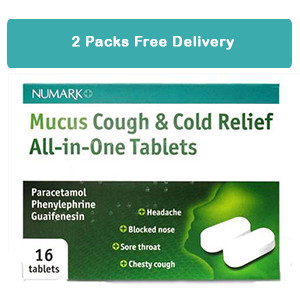2 Packs of Numark Mucus Cough & Cold Relief All-in-One 16 Tablets - FREE DELIVERY