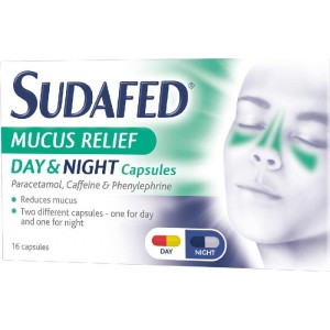 Sudafed Mucus Relief Day and Night Capsules - 16 Capsules